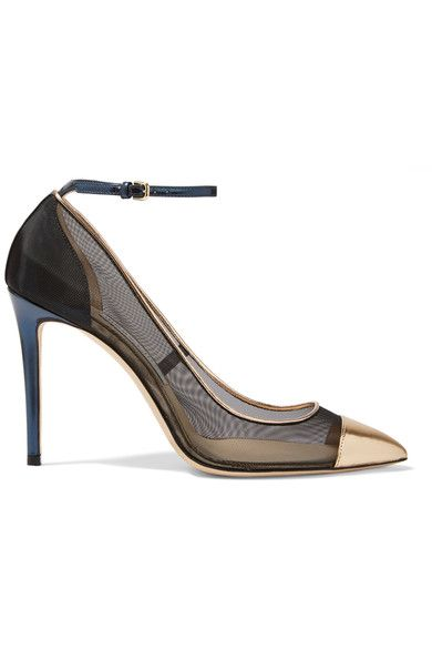 JIMMY Choo Black mesh, gold and storm-blue leather Buckle-fastening ankle strap Made in Italy