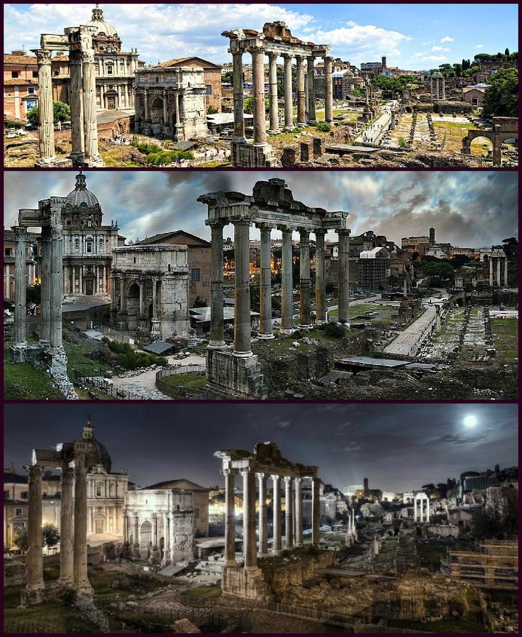 Día, tarde y noche en el foro romano.   ( Day, evening and night in the Roman Forum.)  http://www.facebook.com/egiptoaroma