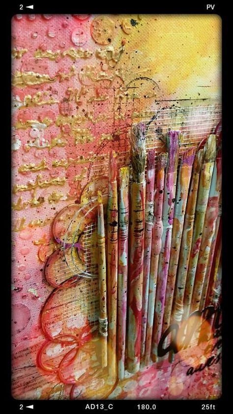 Love this mixed media canvas - great used for old worn out brushes.