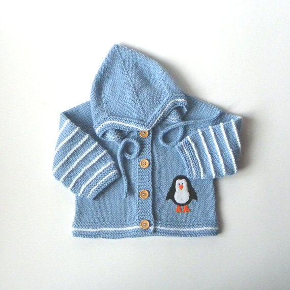 Baby Set gestrickte Baby Set stricken Baby Kostüm blau set mit Pinguin MADE TO ORDER