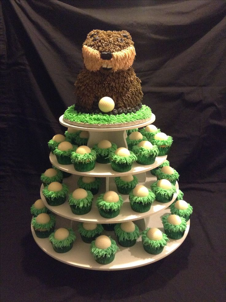 Caddy Shack Gopher with golf ball cupcakes. | Kelly's Cakes and Creations | Pinterest | Golf