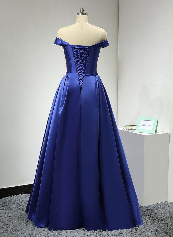 Off The Shoulder Royal Blue Satin Formal Prom Party Dress on Luulla