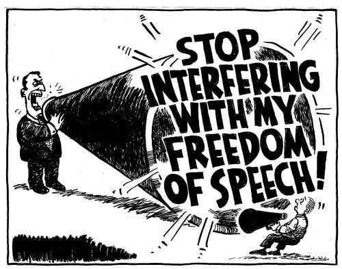 """Freedom of speech is not just an academic nicety but the essential pre-condition for any kind of progress. A child learns by trial and error. A society advances when people can discuss what works and what doesn't. To the extent that alternatives can't be discussed, people are tethered to the status quo, regardless of its… http://theaimn.com/freedom-well-us-anyway/"