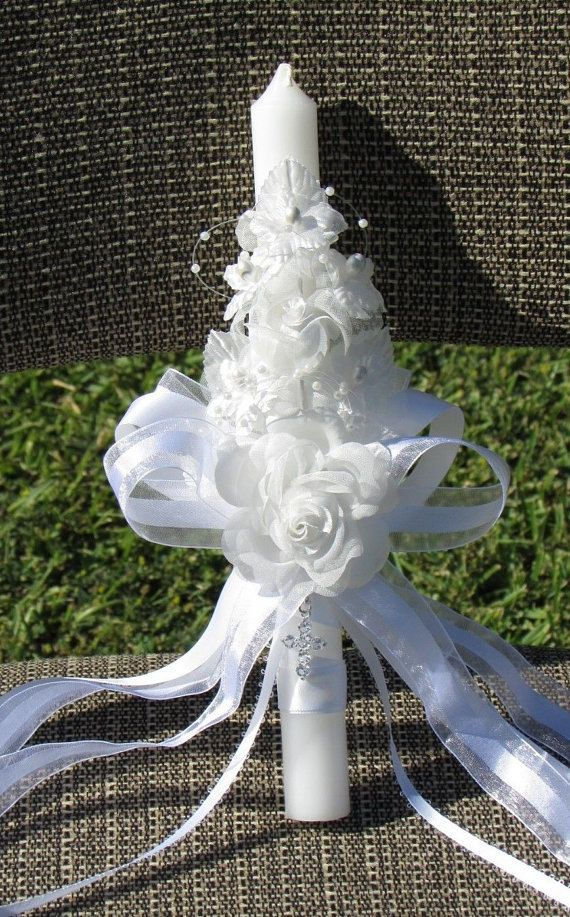 Gift Baby Baptism Christening Cross Candle by Christening1965