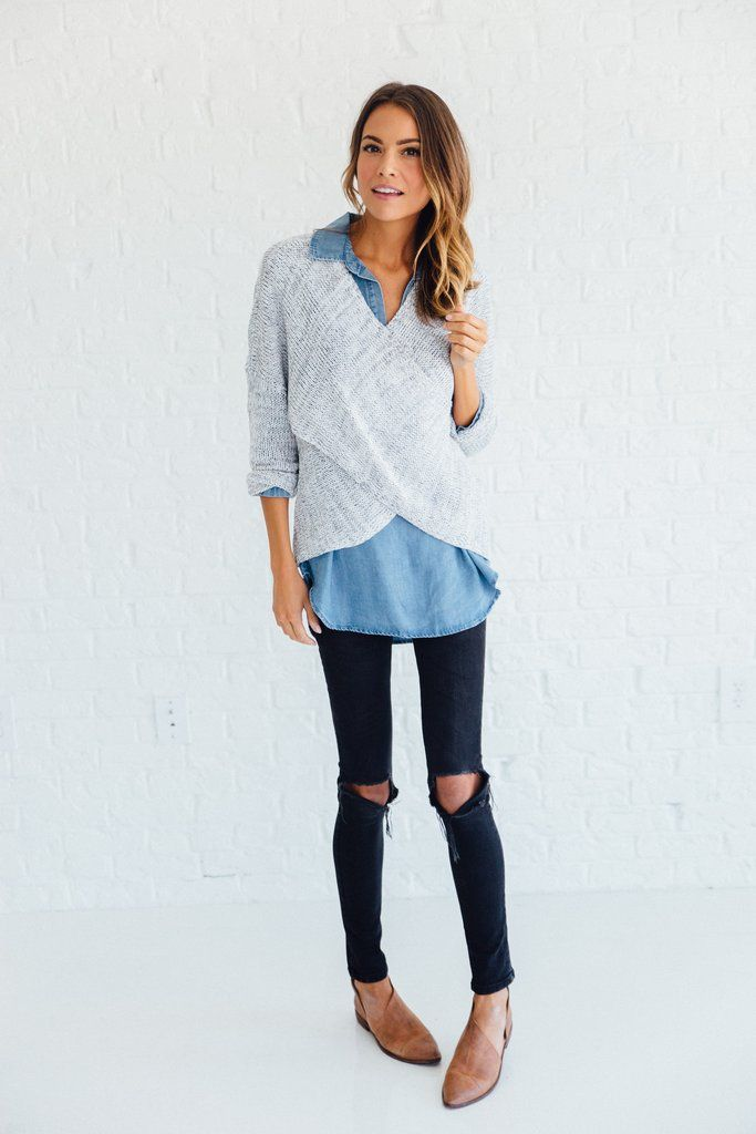 DETAILS:   Perfect light summer sweater  Heathered Grey 60% POLYESTER, 40% ACRYLIC Model is wearing a small