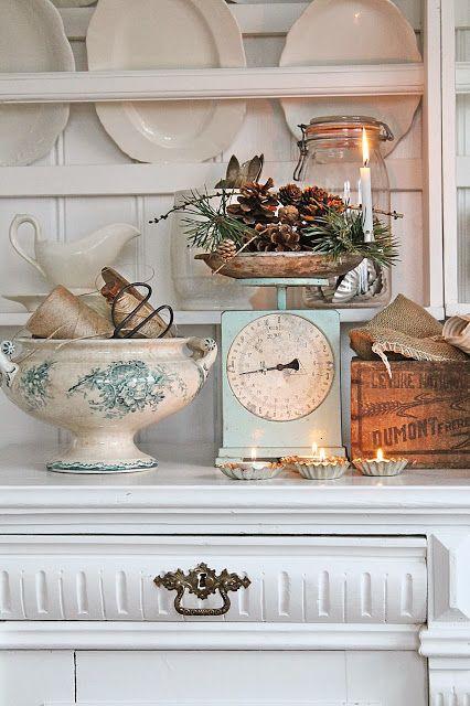 Add a little Christmas everywhere. Tea lights in tin tart cups, greens etc. VIBEKE DESIGN: November dager...
