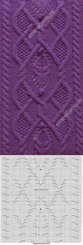 узор 356 широкий мотив из кос | каталог вязаных спицами узоров