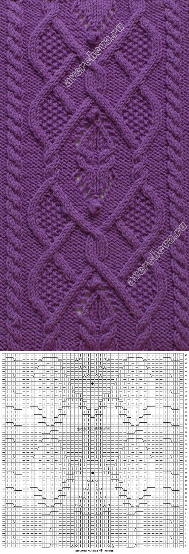 узор 356 широкий мотив из кос| каталог вязаных спицами узоров