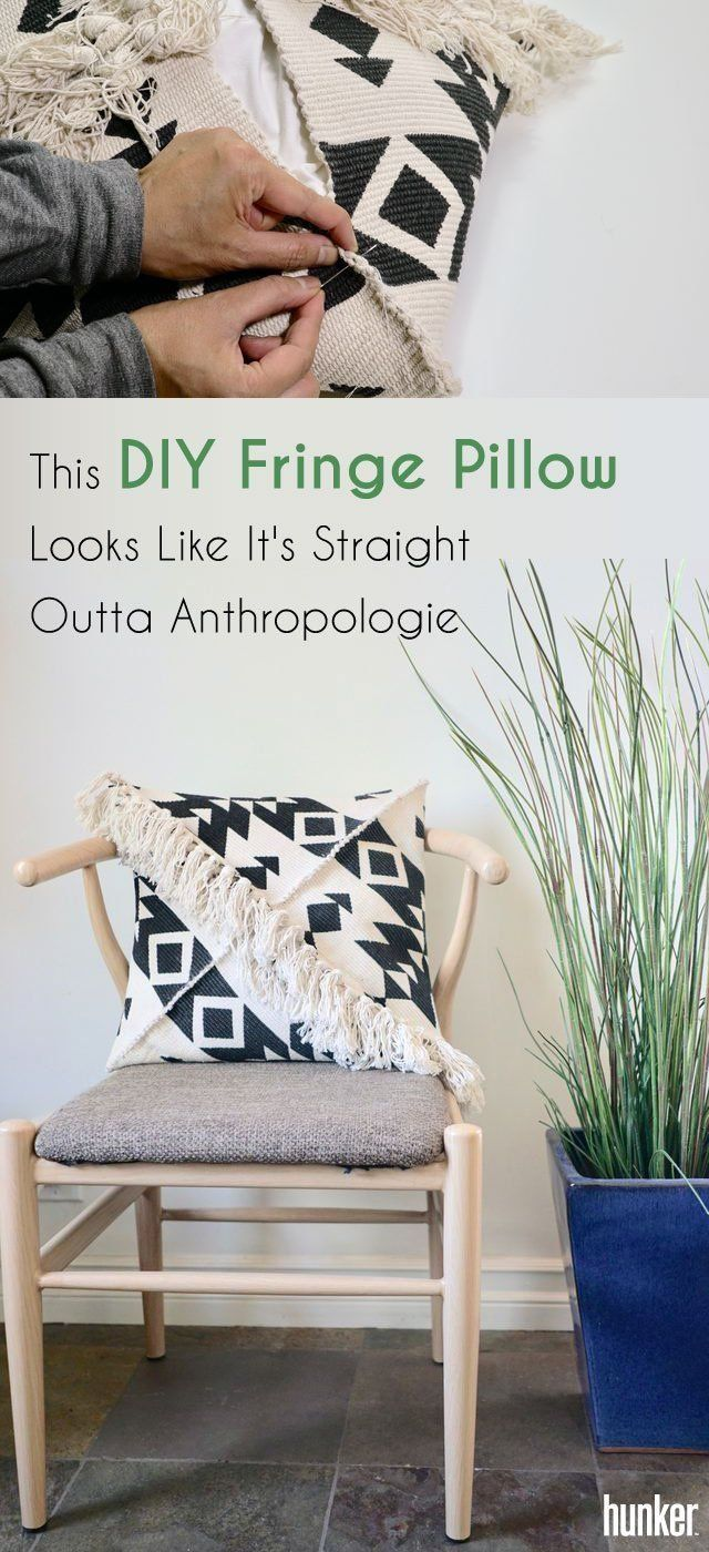 This Diy Fringe Pillow Looks Like It S Straight Outta Anthropologie Dyi Home Pinterest Pillows And Furniture