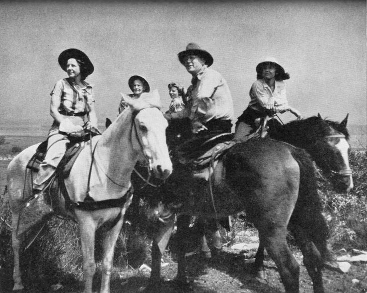 Besides being a successful mystery writer, Erle Stanley Gardner was an accomplished horseman.  Here he is with his office staff, out for a Saturday ride.