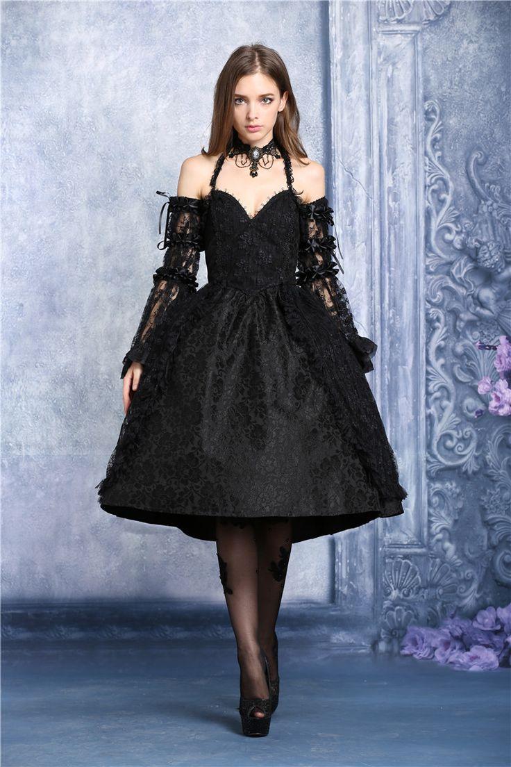 Robe noire a bretelles dos nu lolita gothique vampire victorien > JAPAN ATTITUDE - DARKIL016   Shop : www.japanattitude.fr