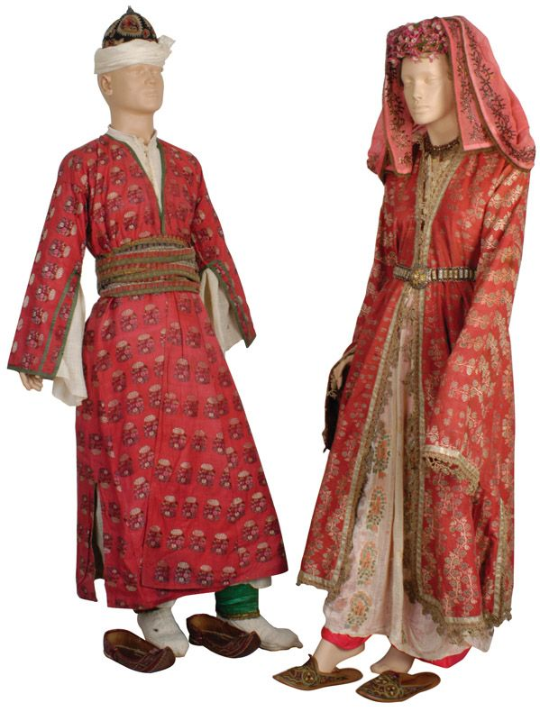 Traditional festive costumes from the Aydın province.  Urban, late 19th century.