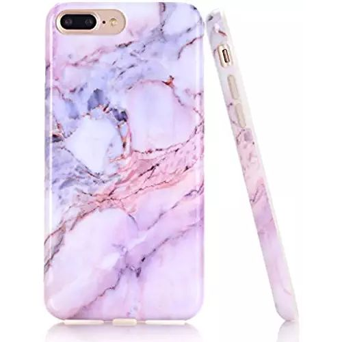 iPhone 7 Plus Case, Purple Pink Marble Design by BAISRKE Slim Flexible Soft Silicone Bumper Shockproof Gel TPU Rubber Glossy Skin Cover Case for iPhone 7 Plus & iPhone 8 Plus