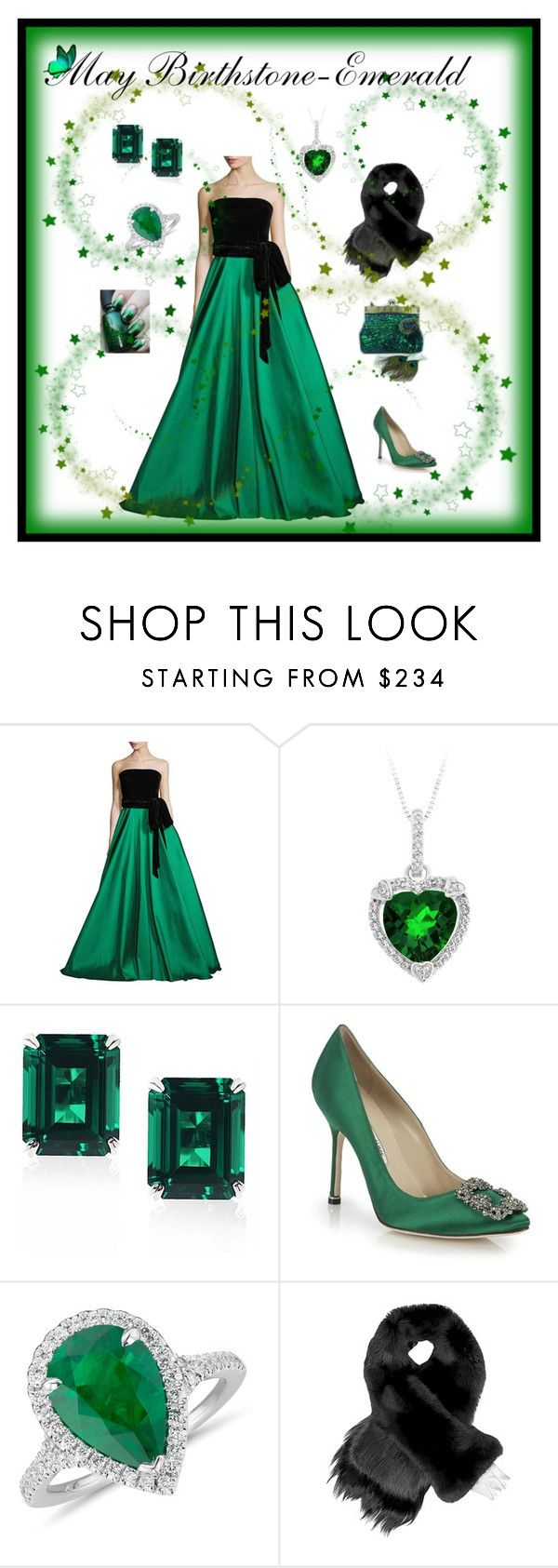 """May Birthstone - Emerald"" by glassdreamshawaii ❤ liked on Polyvore featuring NOIR Sachin + Babi, CARAT* London, Manolo Blahnik, Blue Nile, Fearfur, GREEN, emeralds and MayBirthstone"
