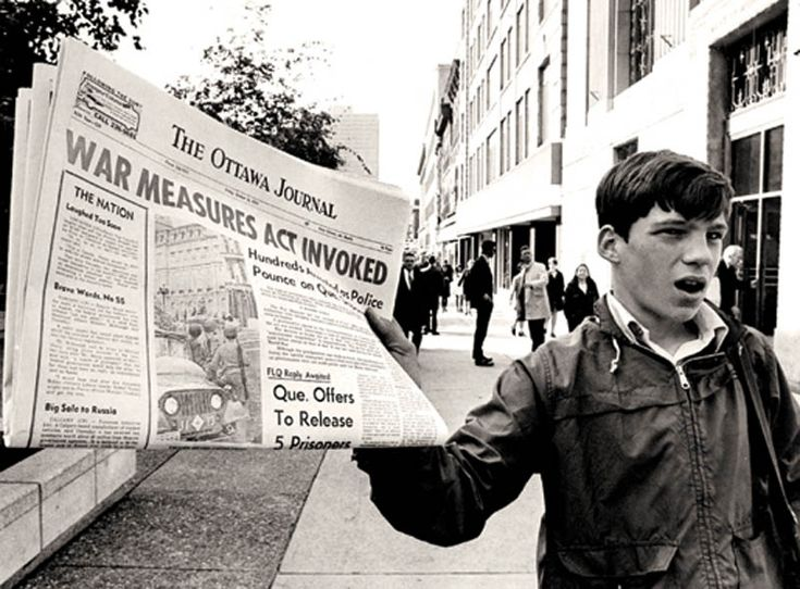 """""""The October Crisis was a series of events triggered by two kidnappings of government officials by members of the Front de libération du Québec (FLQ) during October 1970 in the province of Quebec. The circumstances ultimately culminated in the only peacetime use of the War Measures Act in Canada's history..."""" Posted by Twister Sifter."""