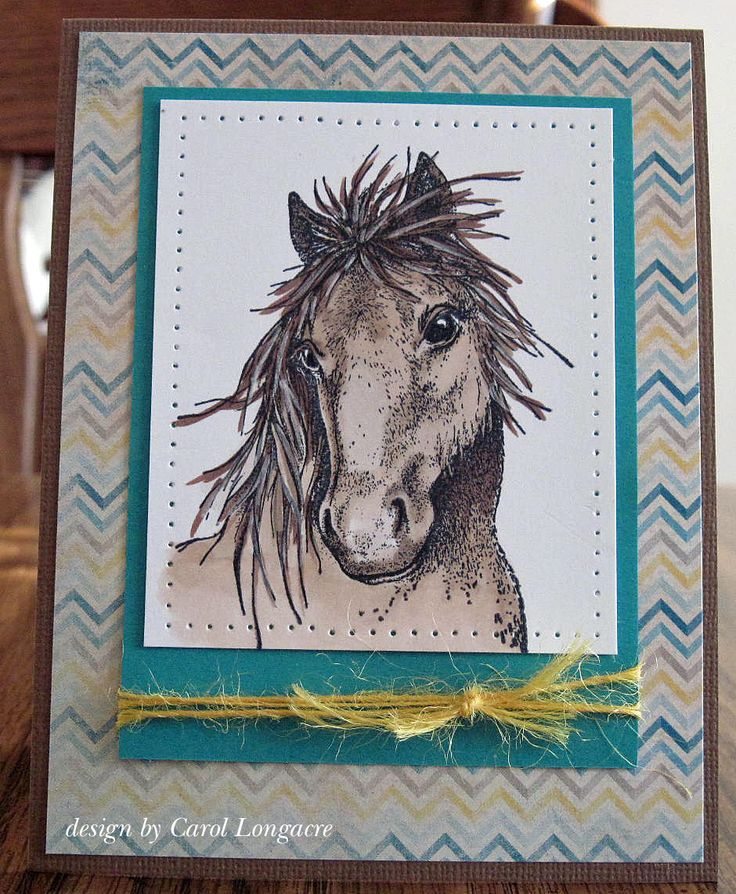 horse Mustang card by Carol Longacre