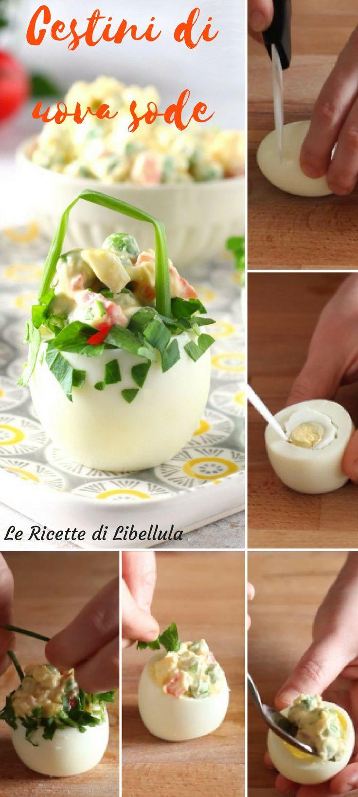I cestini di uova sode sono degli originali e scenografici antipasti da servire a tavola per il pranzo Pasqua o Pasquetta. Questi cestini sono facili da realizzare e sono ripieni di un composto simile all'insalata russa. Leggi la ricetta!