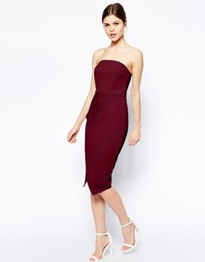 ASOS Asymmetric Wrap Bandeau Pencil Dress