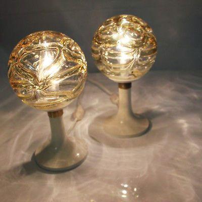 Paar-Doria-Nacht-Tisch-Lampen-60er-70er-Jahre-alte-Leuchten-Glas-Kugeln-Vintage