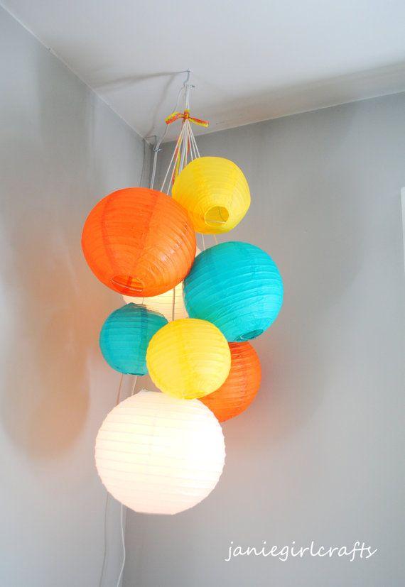 Customizable Lighted Double Paper Lantern Balloon Mobiles