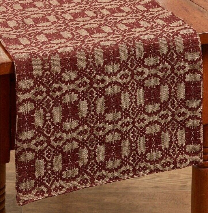Campbell Wine Tan Woven Coverlet Table Runner Burgundy Cotton 54 Long 13 Wide Parkdesigns Linen Placemats Park Designs Vinyl Tablecloth