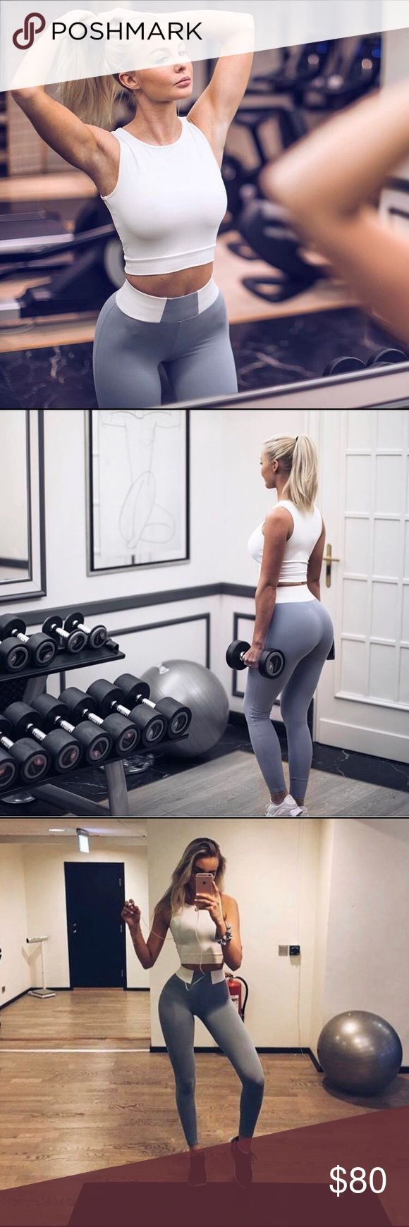 High Waisted Grey Gym Leggings Brand new grey sports leggings with tags. Comes in stretchy material and flattering fit. bring sportswear Pants Leggings