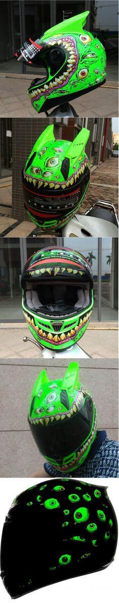 Many Green Eye Glow Sensory Full Face Motorcycle Helmet Airmada
