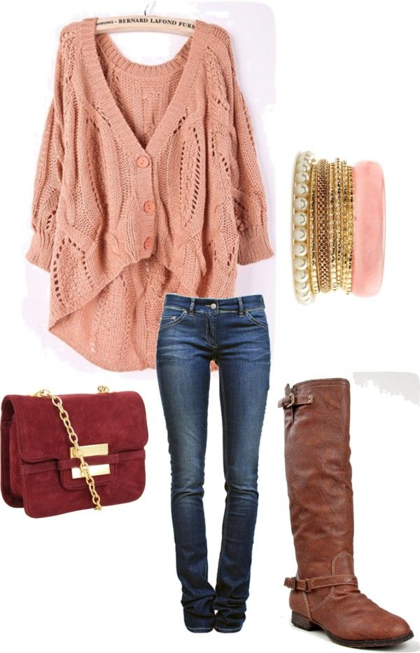 Cute school outfit. for winter, throw on a scarf and coat :)