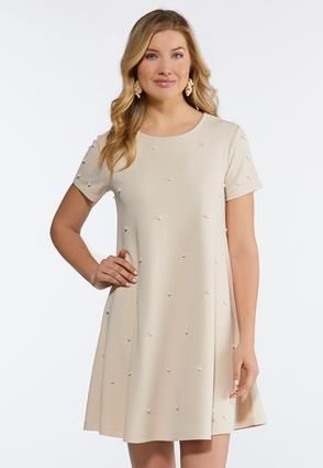 7406fd9544 Plus Size Scattered Pearl Swing Dress A- Line   Amp   Swing Cato ...