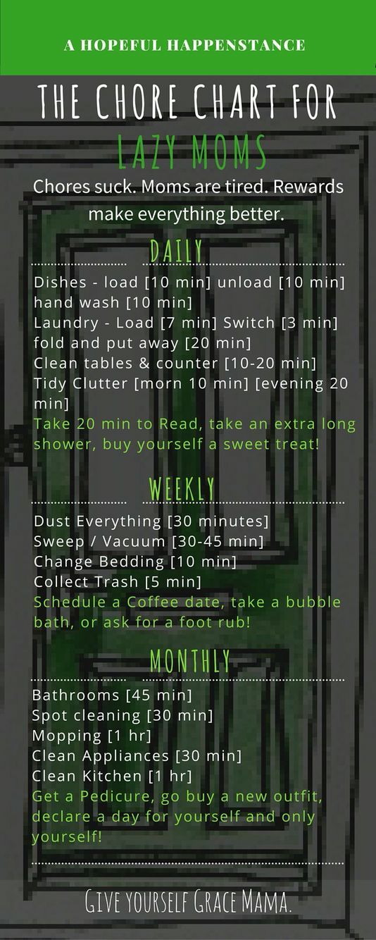 Chore Chart for lazy moms. Chore chart to help you stay organized and keep your home clean without too much stress. AND some treats for you along the way. Treat your self. Moms deserve some me time now and again. Build it into your work schedule to make sure  you don't skip it! Get the house work done and get some time to yourself as well.