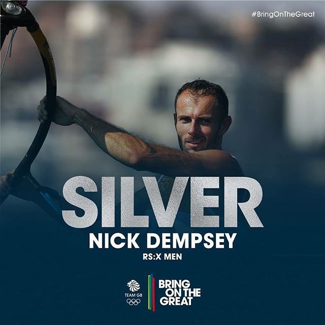 ‪#‎Silver‬ Nick Dempsey crosses the finish in RS:X Men's Medal Race, at the same…