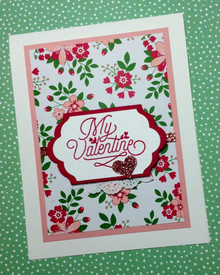 Valentine card made with Stampin' Up!'s Bloomin' Love stamp set, Love Blossoms designer series paper stack, and the new Blushing Bride glimmer paper.  Created by Linda Madison.