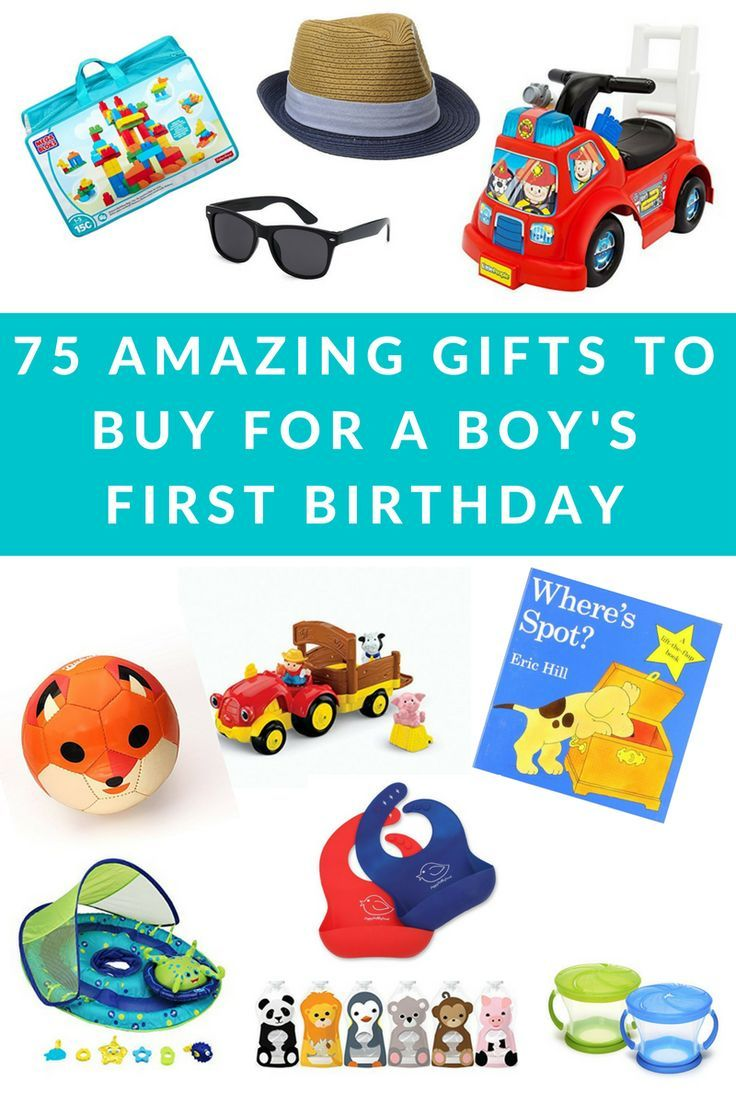 75 Amazing Gifts to buy for a Boy's First Birthday-- Looking for gift ideas for a one year old? Check out this list of stylish gifts for the baby fashionista, outdoor toys/gear, big and small indoor toys, practical gift, and books with flaps, sounds, and touch and feel. Whether you're the parent (mom or dad), grandparent, aunt, uncle, or friend of the family, this list is a great place to get birthday present ideas!
