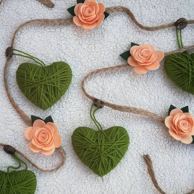 Rose and heart garland by ThinkSleepy on Etsy