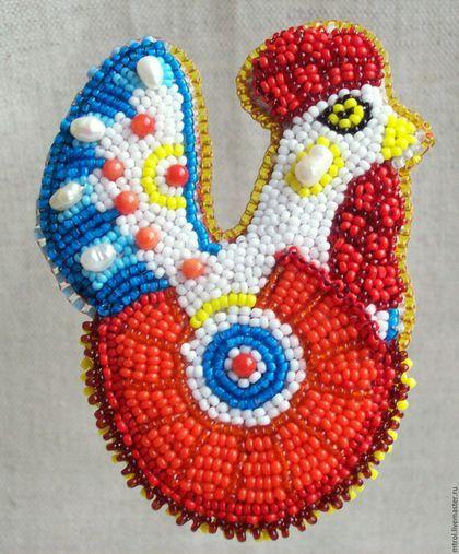 """Helen Kolomoets. Brooch """"Helen Kolomoets. Brooch """"Dymkovo toy  cock"""" Bead embroidery. Елена Коломоец. Брошь """"Дымковский петух"""". Вышивка бисером."""