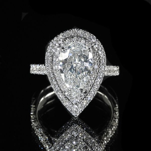 2.3ct GIA Pear 18K Double Halo Diamond Pave Engagement Ring H/SI1 :: Wonder Jewelers
