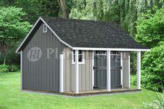 14 x 12 Backyard Storage Shed with Porch Plans P81214 Free…