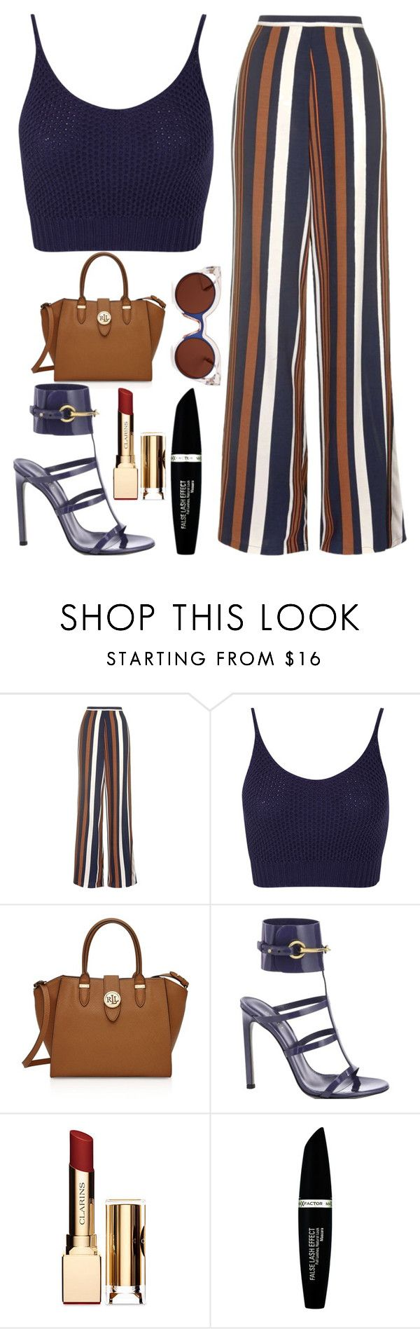 """""""Sun's Out"""" by kimeechanga ❤ liked on Polyvore featuring Topshop, Miss Selfridge, Ralph Lauren, Gucci, Clarins, Max Factor and Fendi"""