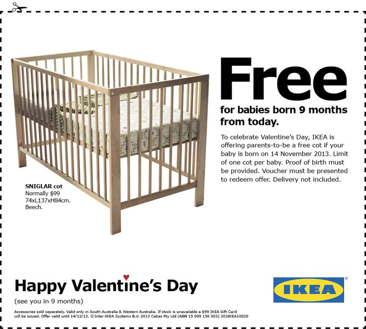 Great Print ad: #IKEA: Happy #Valentine's Day - Free cot for babies born 9 months later