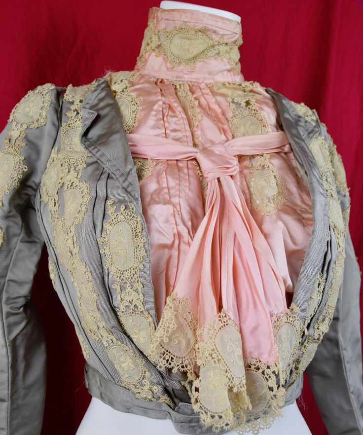 Provenance C 1903 EXQUISITE Edwardian Pidgeon Bodice 4 Leaf Clover COUTURE