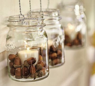 simple autumn decor- mason jars with candles and acorns