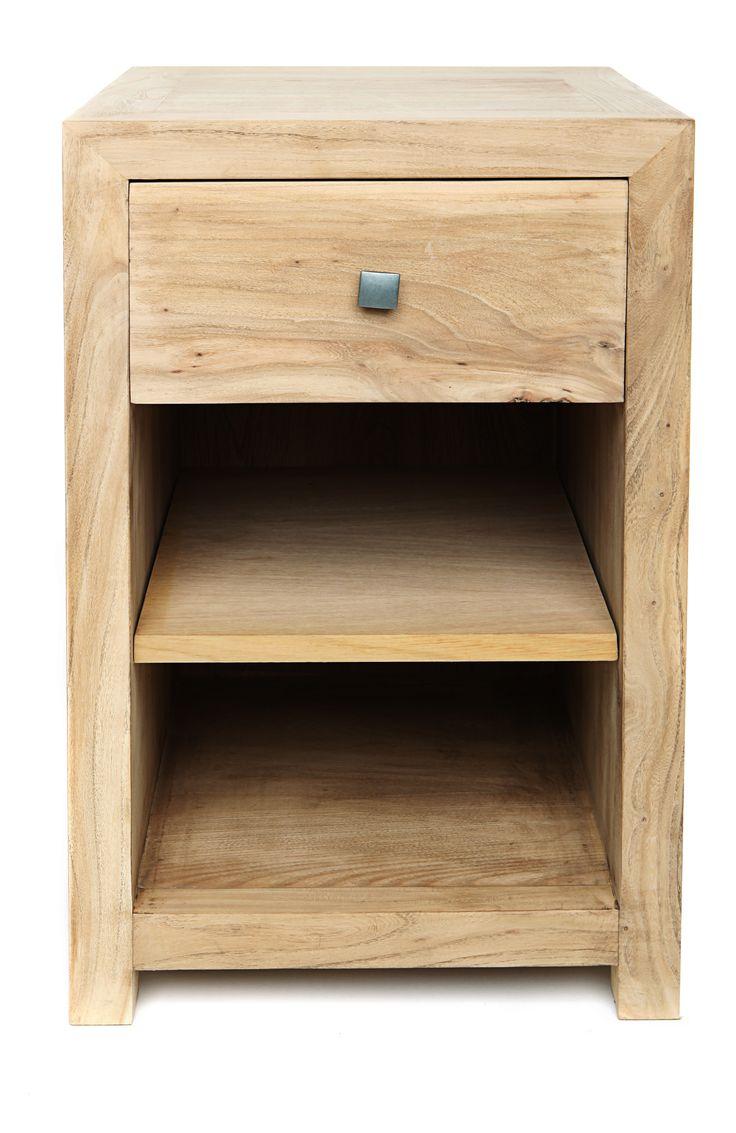 Mesita de Noche Lineal 1 cajon de madera de Olmo.  Disponible en otros acabados. Medidas 38A X 40F X 62h