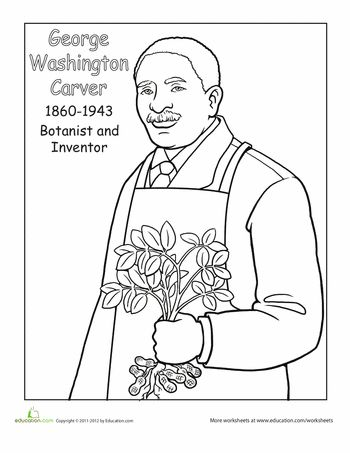 Worksheets: George Washington Carver Coloring Page