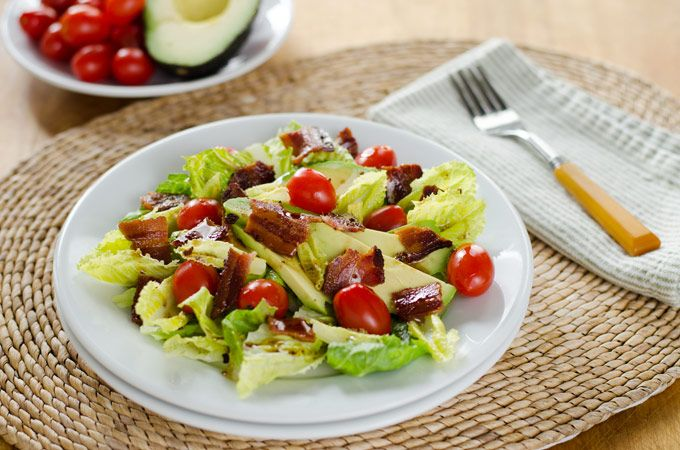 Use GF bacon! BLT Salad with Avocado and Chipotle Dressing - Cook Eat Paleo