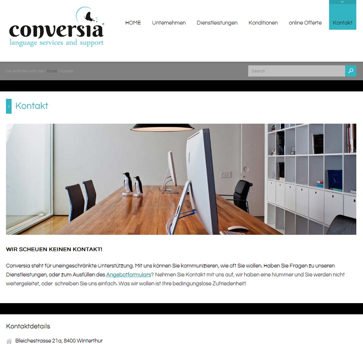 This is the Contact page from Conversia.