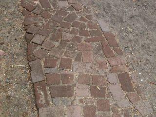Broken brick path