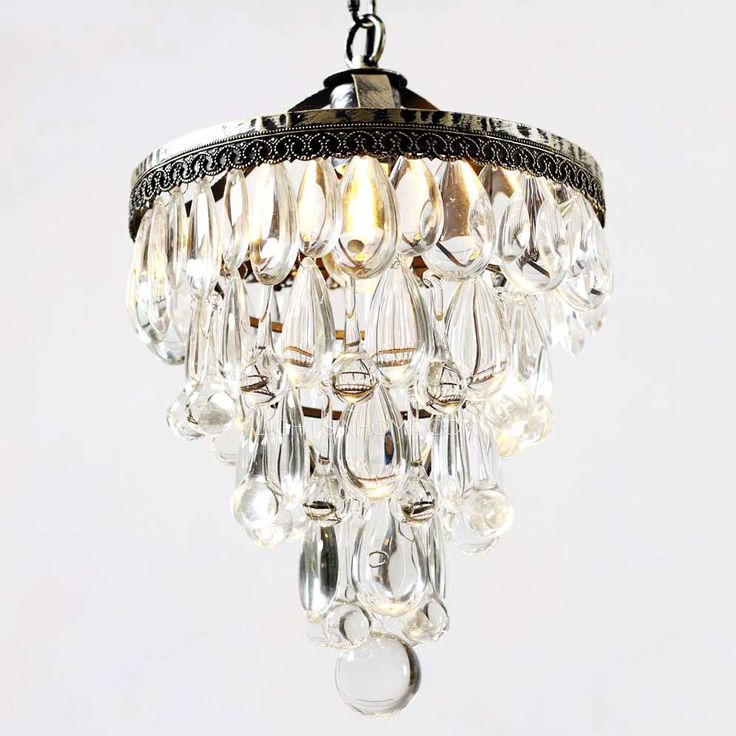Vintage Wrought Iron 14 1 H Small Crystal Chandelier