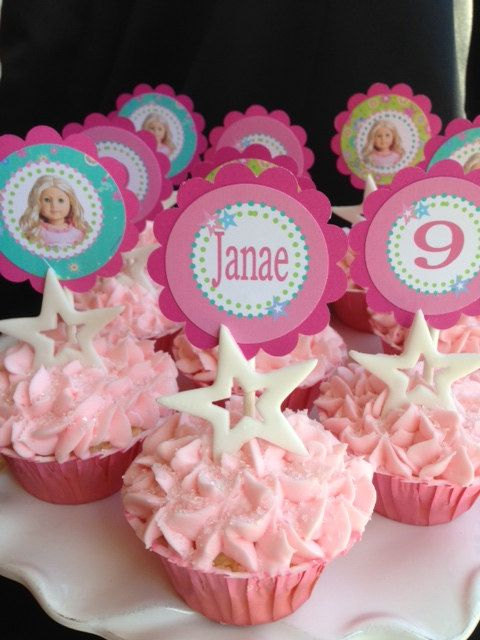 American girl doll birthday party cupcake by ShopPartyTales, $5.00