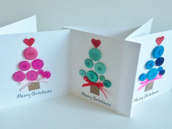 "Handmade button 'Merry Christmas' Tree card - choose from x 3 colours/ comes with envelope 5"" x 5"""
