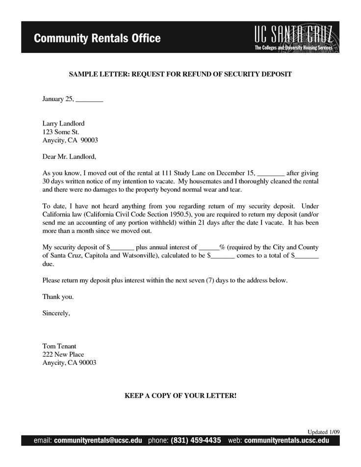 letter for return sample requisition insurance refund emd Home - sample intent to vacate letter